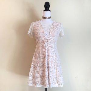 Lace Up Beige & Cream Lace Dress